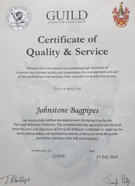 Johnstone Bagpipes - Certificate of Quality and Service